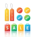 set colorful stickers and labels vector image