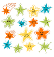 Set of hand drawn funny stars Cartoon comic style vector image vector image