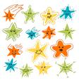 Set of hand drawn funny stars Cartoon comic style vector image
