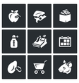 Set of Overdue Product Icons Wormy Apple vector image vector image