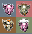set of pork heads in different facial expression vector image vector image