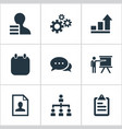 set of simple plan icons elements growth chart vector image
