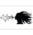Sing woman silhouette vector image vector image