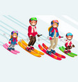 snow skiing people family set vector image vector image