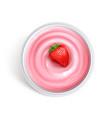 strawberry yogurt top view vector image vector image