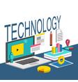 technology laptop chart white background im vector image