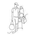 tourists continuous one line drawing two vector image vector image