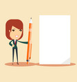 woman with pen and sheet vector image vector image