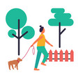 adult woman walking her dog isolated vector image