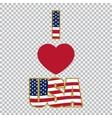 Inscription I love the USA on a plaid background vector image
