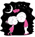 A loving couple standing head to head at night vector image vector image
