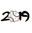 abstract number 2019 and baseball ball from blots vector image vector image