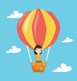 asian woman flying in hot air balloon vector image vector image