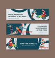 banner template with skateboard design concept vector image vector image