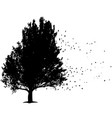 black tree with flying leafs symbol for sorrow vector image vector image