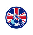 british auto mechanic union jack flag icon vector image vector image