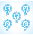 Bulb with different currency concept vector image vector image