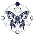 butterflymoon phasestattoo and t-shirt design vector image