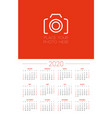 calendar for 2020 year week starts on sunday vector image vector image