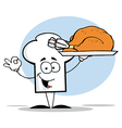 Chef Hat Guy Serving a Cooked Turkey vector image vector image