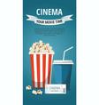 cinema popcorn bowl drinktickets vector image vector image