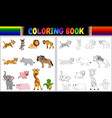 coloring book with wild animals collection vector image vector image