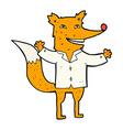 comic cartoon happy fox wearing shirt vector image vector image