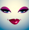 Coquette woman eyes and lips stylish makeup People vector image vector image