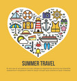 cruise set summer travel in shape heart on vector image