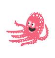 cute cartoon pink octopus character funny ocean vector image vector image