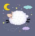 cute sheep jumping in night sky vector image vector image