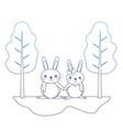 degraded line cute couple rabbit animal in the vector image vector image