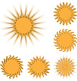 Different sun icons set isolated on white vector image