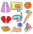 doodle of sport equipment colorful hand draw vector image