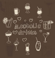 doodles of alcoholic drinks in glasses on a brown vector image vector image