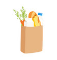 eco shopping bags paper bags with bread milk vector image vector image