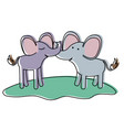 elephants couple over grass in watercolor vector image vector image