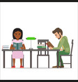 female and male people sitting at table read books vector image vector image