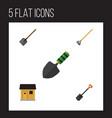 flat icon garden set of tool shovel spade and vector image vector image