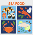flat seafood square concept vector image vector image