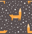 Foxes and snowflakes seamless pattern winter