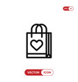 gift bag with heart sign icon vector image
