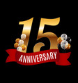 golden 15 years anniversary template with red vector image vector image