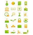 Green yellow finance icons set vector image vector image