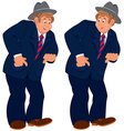 Happy cartoon man standing in gray hat and striped vector image vector image