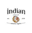 head of indian chief vintage logo design vector image