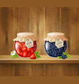 jars with jam on wooden shelf vector image vector image
