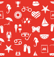 july month theme set of simple icons red seamless vector image vector image