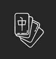 mahjong chalk white icon on black background tile vector image