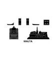 malta flat travel skyline set malta black city vector image vector image